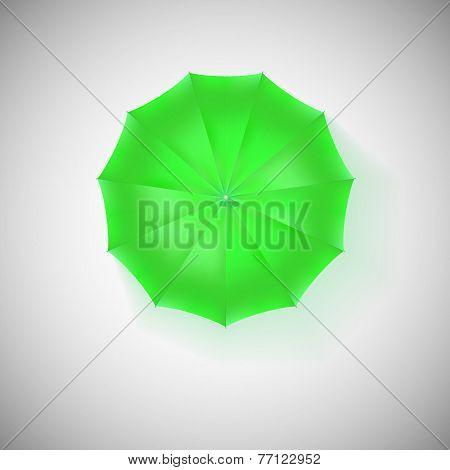 Opened green umbrella, top view, closeup.