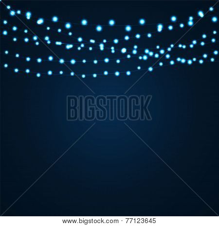 Christmas and New Year Background with Luminous Garland Vector I