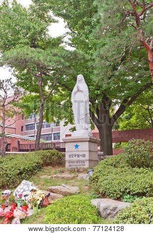 Statue Of Our Lady In Myeongdong Cathedral In Seoul, Korea