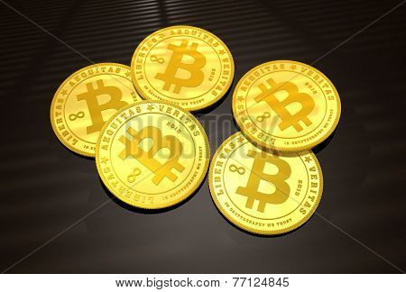 Five Golden Bitcoins