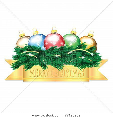 Colorful Christmas Balls And Christmas Tree Isolated On White Background