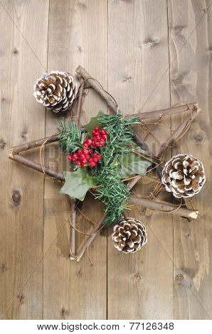 Christmas Decoration On Rustic Wood