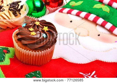 Christmas Chocolate Muffin, Santa Claus Oven Glove And Christmas Balls