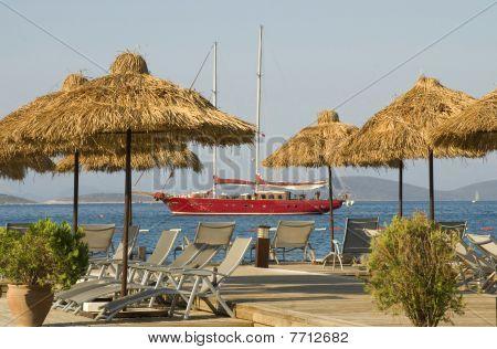 wharf and sailboat