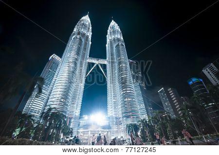 Night View Of Petronas Twin Towers