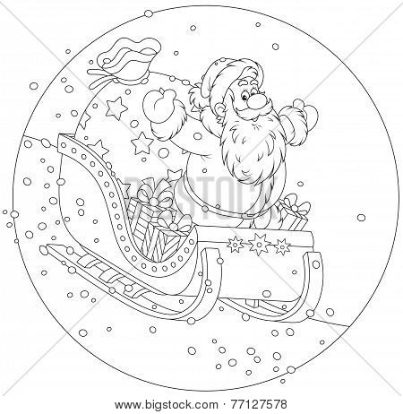Santa Claus sledding with gifts