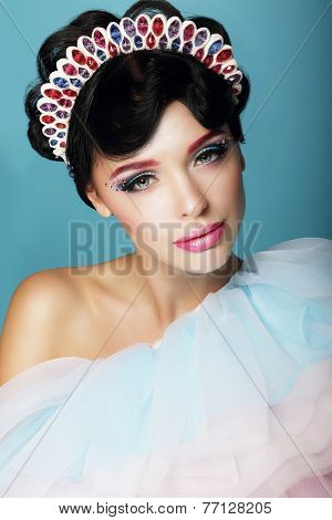 Artistic Woman With Fantastic Makeup And Diadem