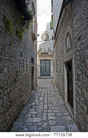Narrow Street Leading To Church