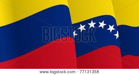 Background with waving Venezuelan Flag. Vector