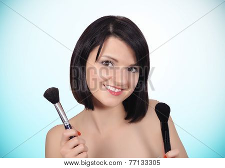 Girl With Two Makeup Brush