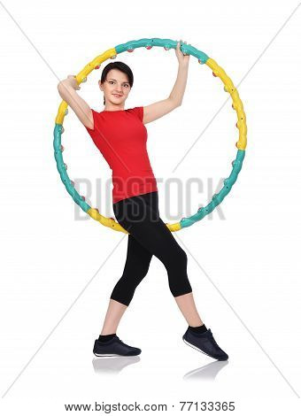 Woman Standing With Hula Hoop