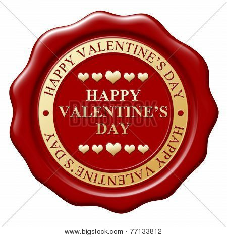 Red Wax Seal With Text Happy Valentine's Day On White Background