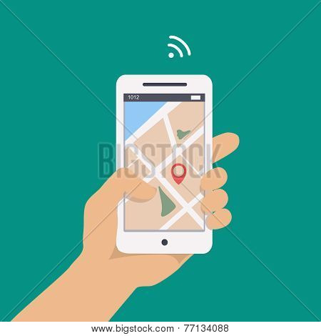illustration concept of man holding smartphone in hand with gps navigation.