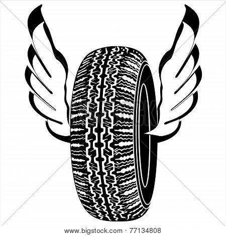 tire with wings for road transport