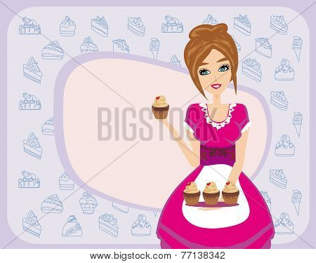 Housewife Serving Chocolate Cupcakes