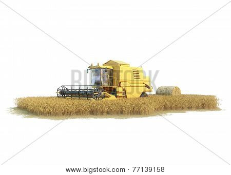 combine-harvester on isolated field