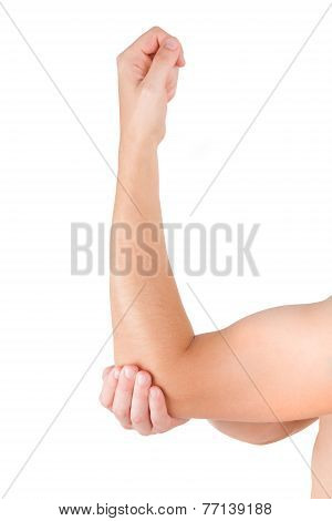 Arm And Elbow Isolated On White Background.
