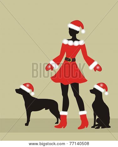 Xmas Girl With Dogs