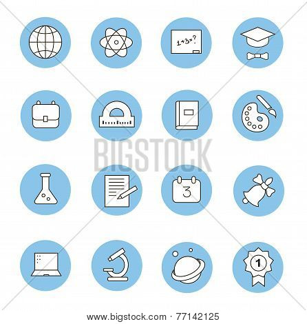 Education and learning flat thin line  icons set, modern  collection of high school objects, college