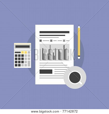 Accounting Workflow Flat Icon Illustration