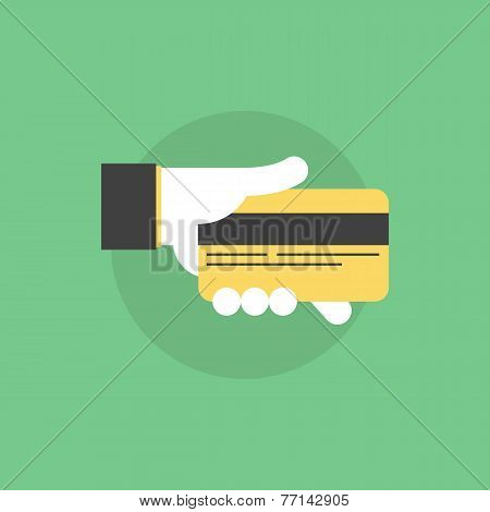 Credit Card Payment Flat Icon Illustration