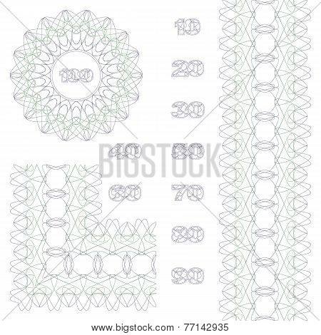 Decorative Rosette, Border And Numbers