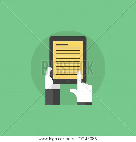 E-book In Hands Flat Icon Illustration