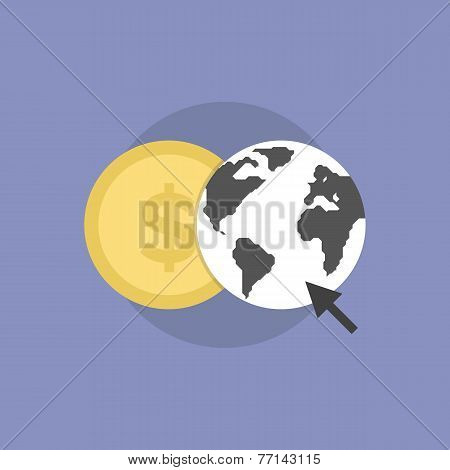 Web Money Flat Icon Illustration