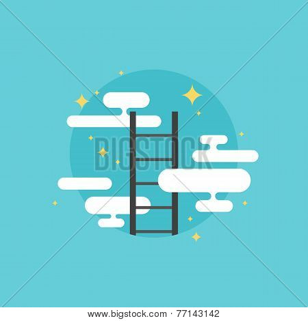 Ladder Of Success Flat Icon Illustration