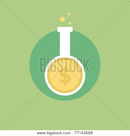 Money Research Flat Icon Illustration