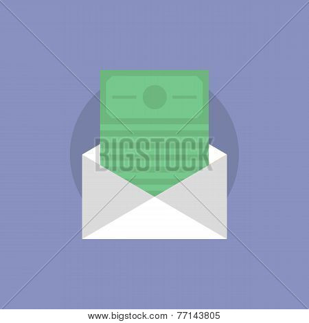 Mail With Money Flat Icon Illustration