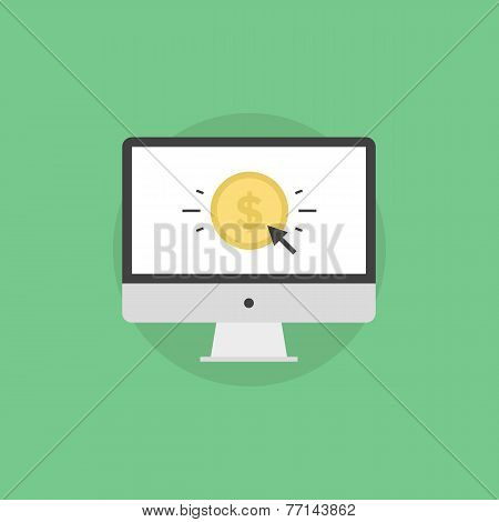 Online Money Making Flat Icon Illustration