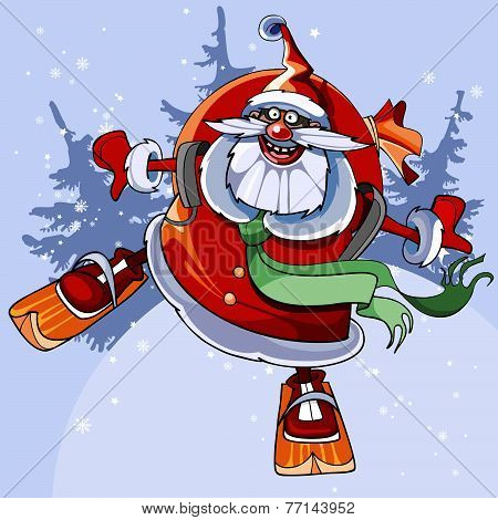 Cheerful Santa Claus On Skis Flies.eps