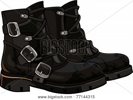 Old Black Boots With Buckles And Laces.eps
