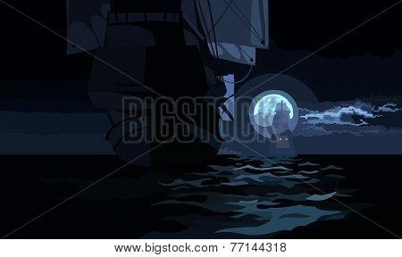 Ship With Sails On A Moonlit Night On The Sea.eps