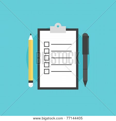 Checklist Reminder Flat Icon Illustration