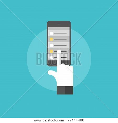 Mobile Schedule Flat Icon Illustration