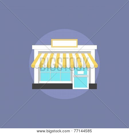 Small Shop Flat Icon Illustration