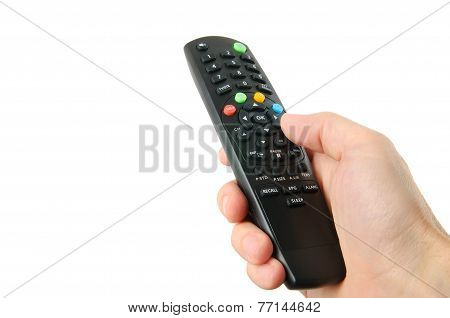 Tv Remote Control In Hand Isolated On White