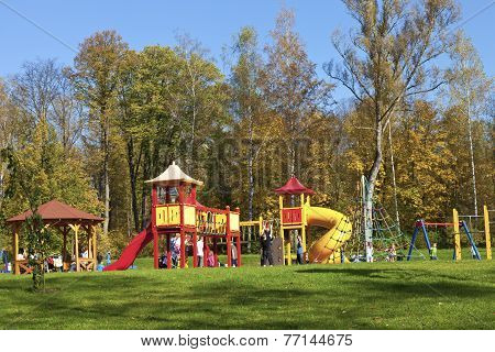 colourful playground on a sunny day