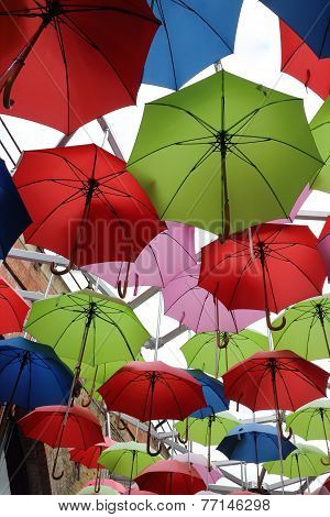 Umbrellas in a market