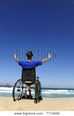Wheelchair Person Enjoying Outdoors Beach