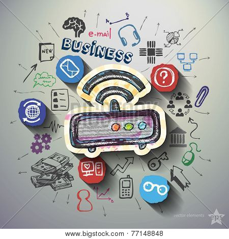 Business collage with icons background
