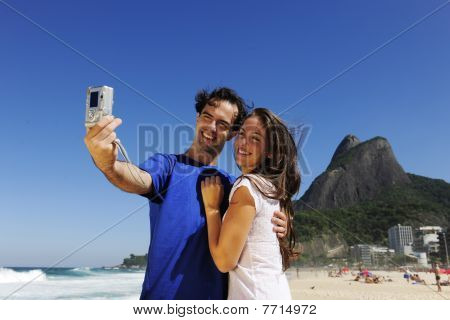 Tourist Couple In Rio De Janeiro Taking A Photo