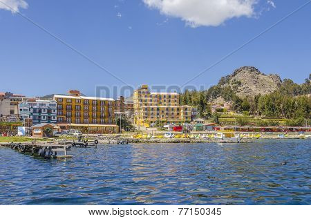 COPACABANA, BOLIVIA, MAY 7, 2014:  General view of port on shore of Titicaca lake