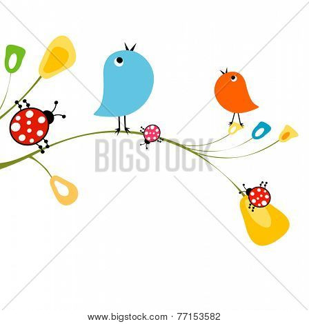 birds and ladybirds on flowers