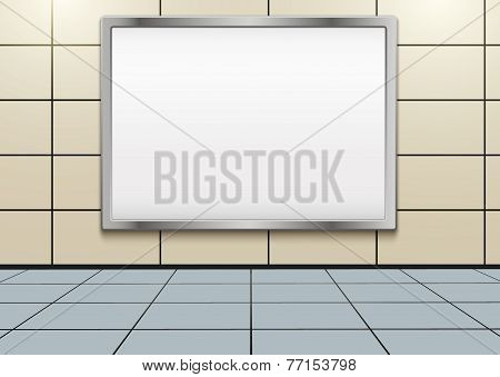 Empty mockup billboard inside metro or subway. Vector Illustration.