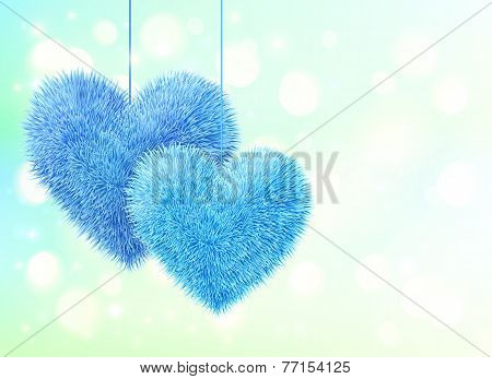 Blue fluffy hearts pair greeting card horizontal template