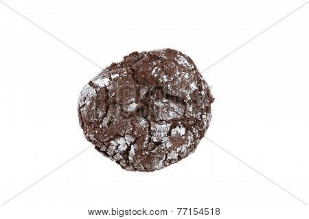 Chocolate crinkle cookie close-up