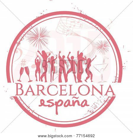 Stamp Party in Barcelona, city of Spain
